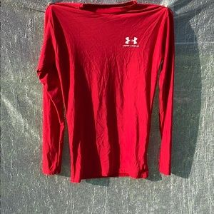 Red, Long-Sleeve, High Neck Under Armour Shirt